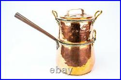 19C Antique Victorian Polished Copper Steamer Large Double Cooking Pan Pot
