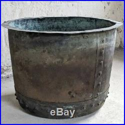 19th Century English Victorian Large Riveted Copper Planter/log basket