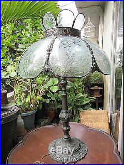 27 Antique 8 Panel Acid Etched Glass & Brass Victorian Electric Table Lamp Fine
