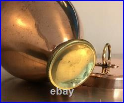 ANTIQUE 16cm COPPER ICE CREAM BOMB MOULD MOLD BRASS FOOT TIN LINED LR MONOGRAM