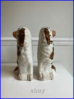 ANTIQUE No. 2 PAIR STAFFORDSHIRE SPANIELS WALLY DOGS COPPER LUSTER