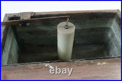 ANTIQUE WATER CLOSET WOOD TOILET HIGH TANK COPPER LINED WOODEN OAK Nice