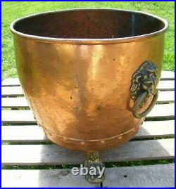 A Large Riveted Copper Country House Log Bin Lion Mask Handles Bucket Planter