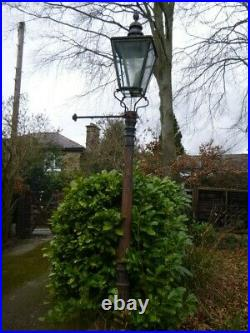 A Pair of Victorian street gas lanterns / lamps, copper & cast stand