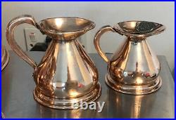 A SET OF 6 STUNNING VICTORIAN Copper Haystack Measuring Jugs HR Lead Assay Stamp
