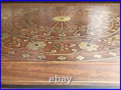 Anglo-Indian Original Unique Rosewood Inlaid with brass and copper Table Tray