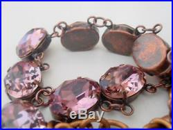 Anna Wintour Antique Pink Choker Necklace with Swarovski Oval Crystals 4120