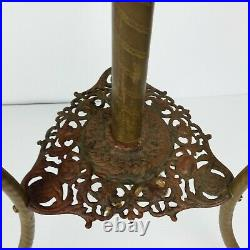 Antique 1800s Plume Atwood Brass PIANO FLOOR LAMP Victorian Oil Parlor Vtg