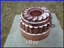 Antique 6.12 Victorian Jelly Copper Mold Mould Tiered/Coin Design Pipe Dovetail
