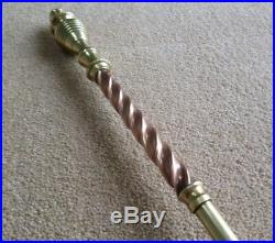 Antique Brass Companion Fireplace Irons with Copper Twists Accessories, Tongue