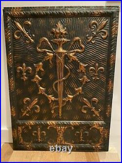 Antique C 1900 Neo Classical Copper Flashed Japanned Fireplace Cover Victorian