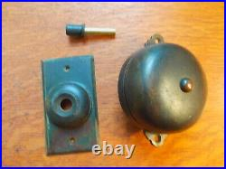 Antique Copper Brass Mechanical Doorbell & Push Button by Reading Hardware c1885