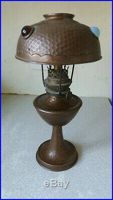Antique Copper -arts & Crafts Oil Lamp Glass Jewelled Shade - W & W Kosmos