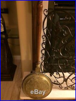 Antique English Victorian Rooster Bed Warmer Brass & Copper & Wood Handle