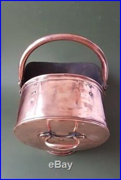 Antique Fireplace Copper Coal Hod, Coal Scuttle with Copper Handle