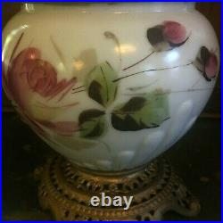 Antique Gone With The Wind Hand Miller Painted Parlor Oil Lamp Victorian Era GWT
