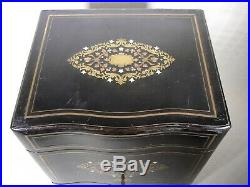 Antique Late Victorian Ebonized Tantalus with Copper, Brass and Mother of Pearl