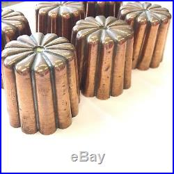 Antique Matching Set Of 6 Copper Jelly Moulds Country Pieces 5cm X 6cm Miniature