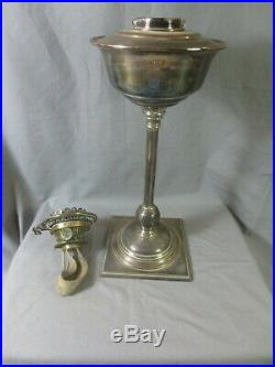 Antique Silver Plated Duplex Oil Lamp Was Benson Hinks