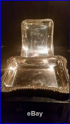 Antique Silver-plated On Copper Ornate Covered Serving Dish with Handle England
