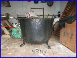 Antique Victorian Large cast iron copper with ball and claw feet log bin planter