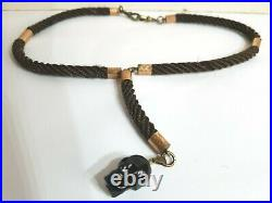 Antique. Victorian Real Hair /copper Trim Necklace With Vintage Jet Skull Goth