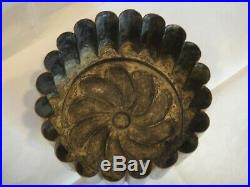 Antique Victorian Round Copper Tin Jelly Pudding Mold French