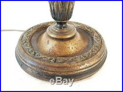 Antique Victorian Tulip Lamp Leaded Stained Swirled Slag Glass Bent Curved 25