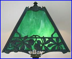 Antique WILKINSON LAMP CO. Stained glass SIGNED green tiffany era BRONZE