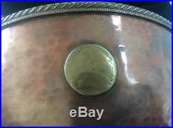 Antique c19th Hand Hammered Copper Rose Bowl + Georgian Coins Lions Head Handles