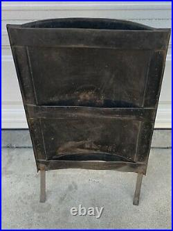 Antique fireplace Fire Screen japanned flashed copper deco vtg victorian