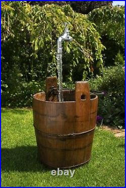 Authentic Antique Wooden Pail Floating Tap Water Feature
