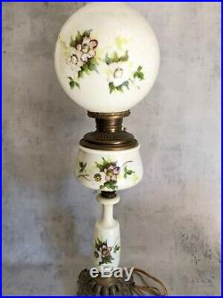Bradley & Hubbard 3 Tier Milk Glass Parlor Banquet Converted Electric Oil Lamp