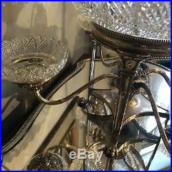 Circa 1850 English Silver Plate over Copper Five Cut Glass Bowl Serving Epergne