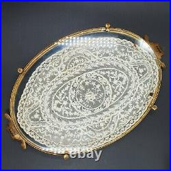 Etchardt Vanity Tray Silver (800) Handles, Lace Glass Brass Copper Antique