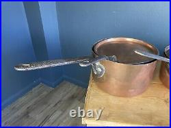 Graduating Sized Collection Of 7 Similar Design Antique Copper Pans With Lids