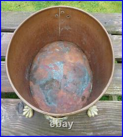 Hammered Large Copper and Brass Lions Head & Foot Log/Coal Bucket/Basket/Planter