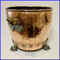 Large Antique Victorian English Copper Riveted Log & Coal Fireplace Bin Planter