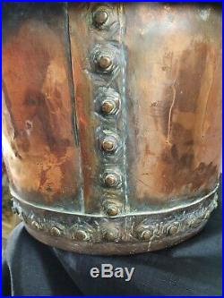 Large Original Victorian Riveted Copper Cauldron Or Planter. Postage Available