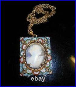 Micro Mosaic Cameo Necklace Antique Shell Floral Cameo 100 Yrs Frame or Pendant