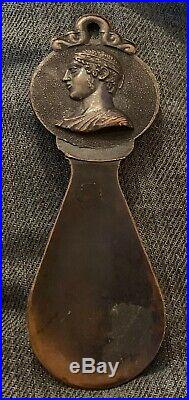 Old Antique Greek Coin BRASS/Bronze Or Copper SHOE HORN Ornate, Early Victorian
