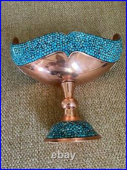 Persian Candy jar Turquoise Stone & Copper Made by Master Mr Aghajani, NEW
