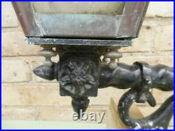 Stunning Large Rare Heavy Victorian Copper Lights On Metal Wall Brackets
