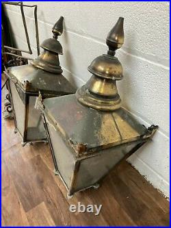 Two Reclaimed Sugg Copper & Metal Victorian Style Lamps/lanterns Wall Mounted
