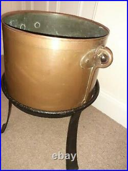 VINTAGE HEAVY FRENCH Antique Copper Cauldron /Planter on heavy cast iron stand