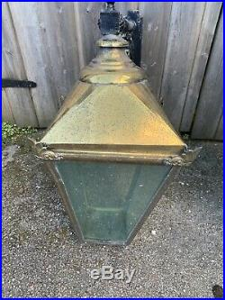VINTAGE Large Victorian style Outdoor Brass Carriage Lanterns Pair