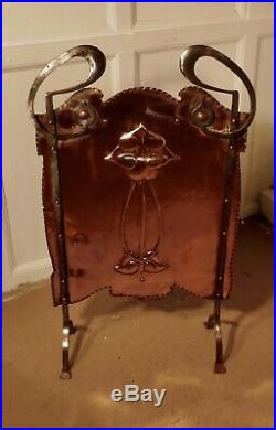 Victorian Art Nouveau Copper and Polished Steel Fire Screen