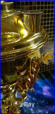 Victorian Arts & Crafts Copper Brass Duplex Oil Lamp Etched Amber Shade 30Tall