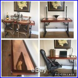 Victorian Cast Iron Mahogany Bistro Table Copper Inlay Console Dining Industiral