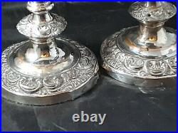 Victorian Pair Of Heavy Floral Decoration Silver On Copper Candlesticks